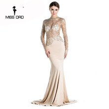 Free Shipping Missord 2017 sexy long dress see through high-necked long-sleeved bodycon maxi dress FT2537-2