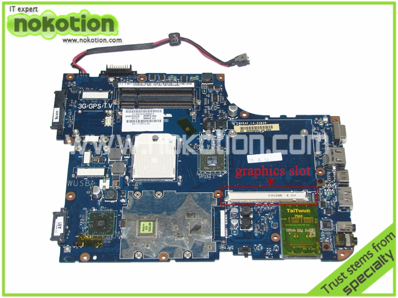 NOKOTION K000020001 NSKAE LA-5382P Rev 0.1 Laptop Motherboard for Toshiba A500 with graphics card slot k000055760 laptop motherboard for toshiba satellite a200 a205 iskaa la 3481p rev 2a intel gl960 ddr2 without graphcis slot