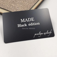 Custom high quality logo engraved black background stainless steel metal business cards