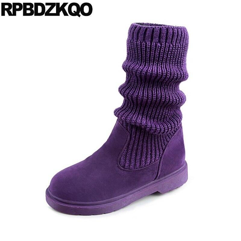 Knit Cute Mid Calf Cheap Candy Round Toe Slip On Fur Suede Shoes Purple Stretch Sock Kawaii Flat Autumn Women Boots Winter 2017