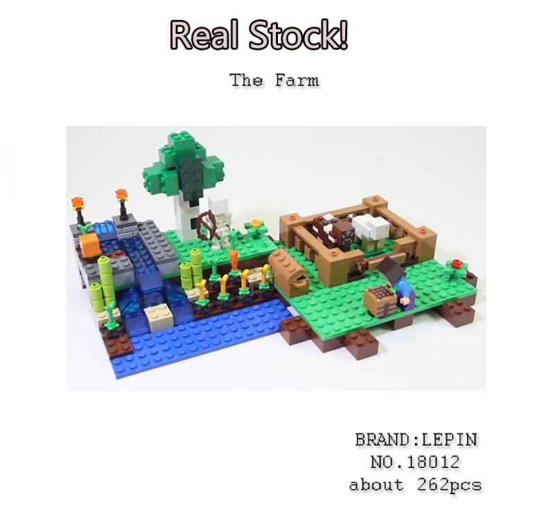 Lepin 18012 262pcs My world The Farm Minecraft Building kits Bricks Blocks anime action figure hot Toys for children gift 21114