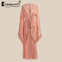 Everkaki Women Boho Lace Hollow Out Coats Open Stitch Scarf Collar Solid Bohemian Lady Coat Female 2019 Summer New