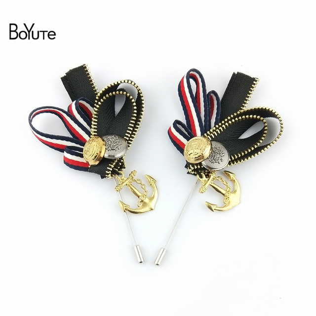 BoYuTe 5Pcs British Navy Style Anchor Lapel Pins Men Lapel Pin Brooch For  Suits Handmade Brooch