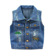 Get more info on the 2019 New Summer Sleeveless Kids Boy Denim Waistcoat Jeans Children Vest Baby Boy Tops Outerwear With  Dinosaur Embroidery 2-9Y