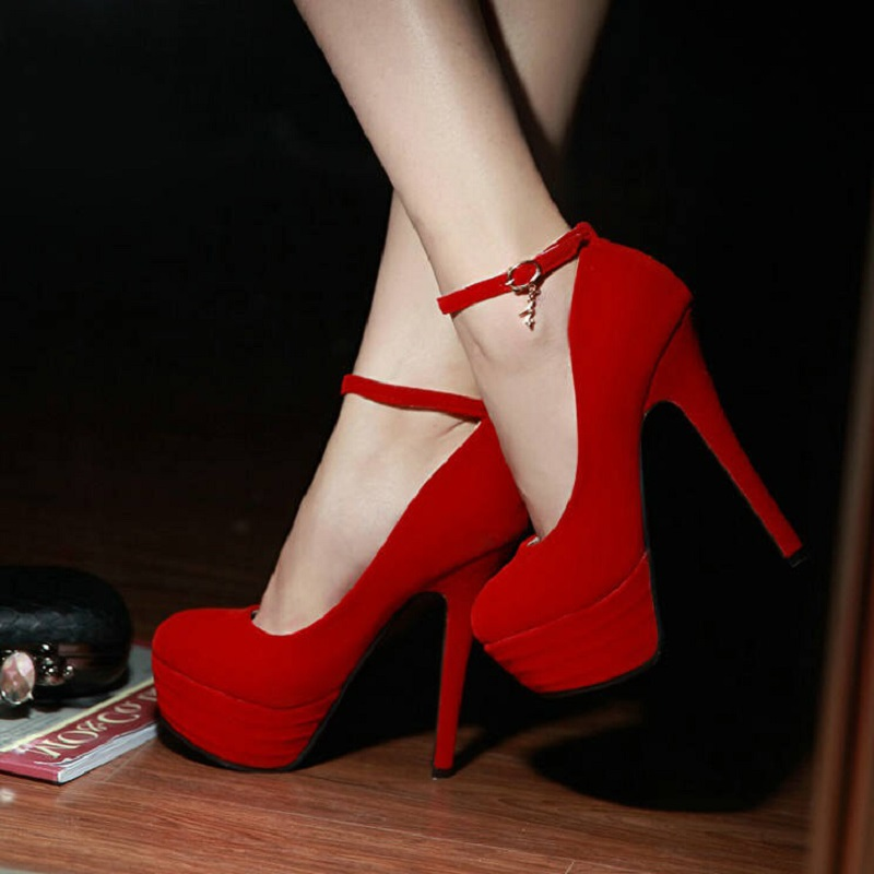 Fashion small yards women red sexy Round toe thin high heels shoes 31 32 33 red thin heel wedding shoes women size shoe 41 42 43