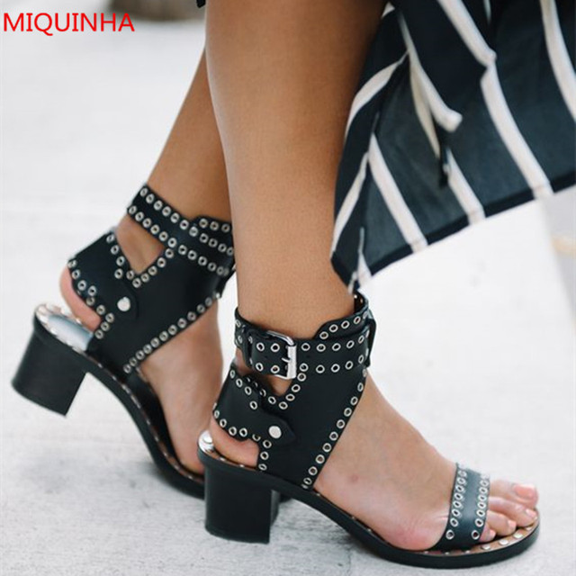 2b7ce62ca6f Black Leather Jaeryn Embellishment Women Sandals Open Toe Hollow Out  Stylish Chunky Heel Gladiator Sandals Woman Shoes Mujers