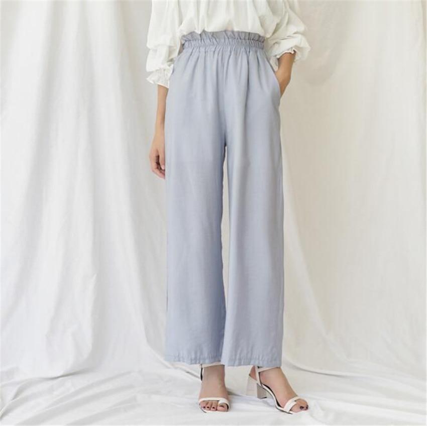 MLCRIYG 2018 прицветник брюки бутон высокая талия и удобные Повседневное прямые брюки