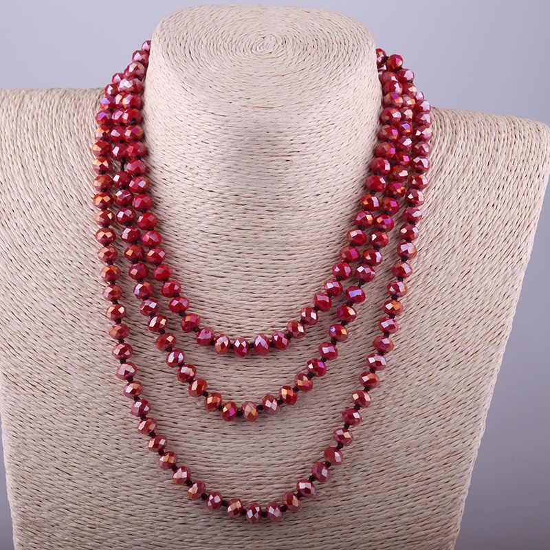 แฟชั่นโบฮีเมียนเผ่ายาวคริสตัลสีแดงผูกโบว์ยาว Halsband 5X8 แก้วคริสตัลสร้อยคอ
