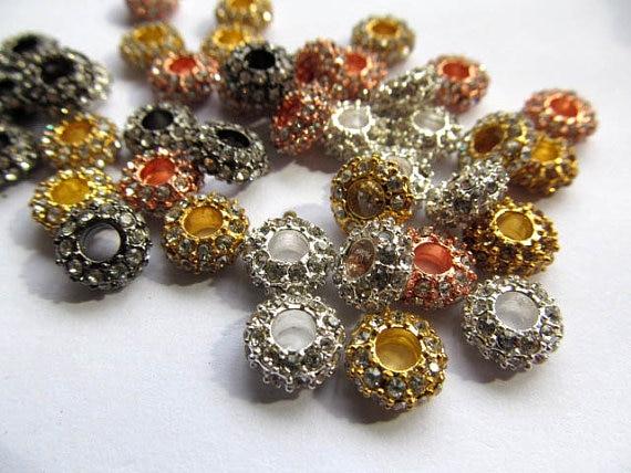 Großhandel 5x12mm 100 stücke rondelle strass kristall perle silber gold gunmetal grau sortiment schmuck perlen - 2
