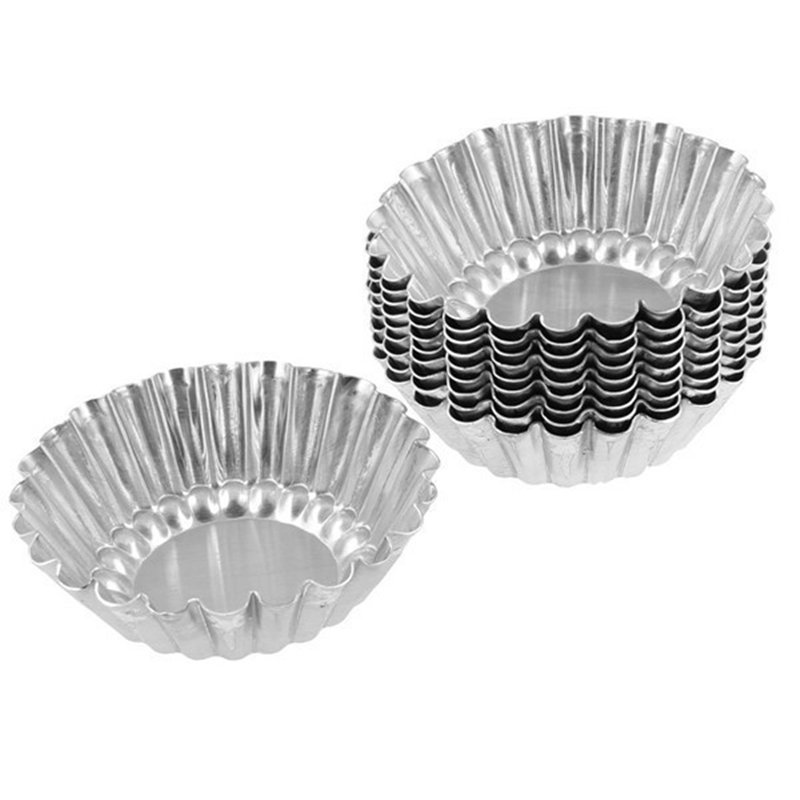 12 Pieces Aluminum Egg Tart Mold Pie Baking Pan Cupcake