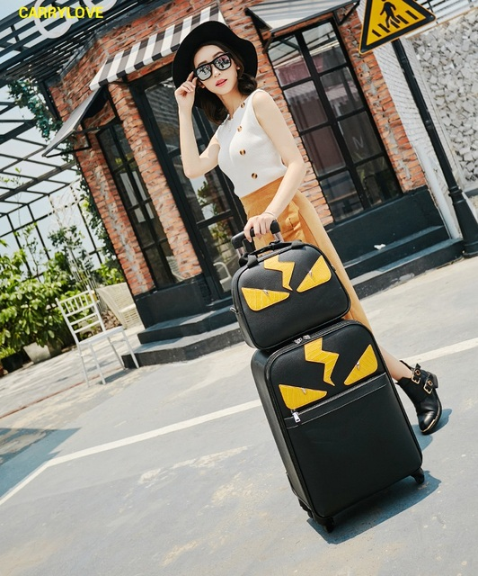 CARRYLOVE Cartoon Little monsters 16/20/24 inch High quality PU handbag+ Rolling Luggage Spinner brand Travel Suitcase