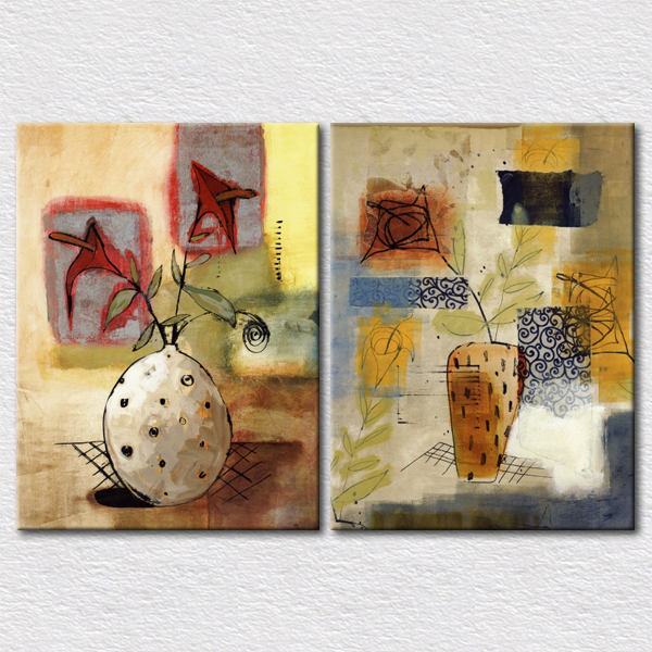 Abstract Flower Vase Painting For Kitchen Decorative Pictures On Bedroom Reproduction Canvas Paintings