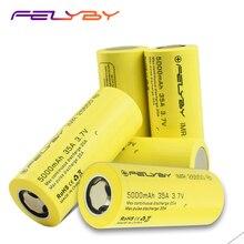FELYBY 1 5 adet yüksek kapasiteli 5000mAh 3.7V şarj edilebilir 26650 lityum pil için el feneri/güneş/ UPS/elektronik aletler