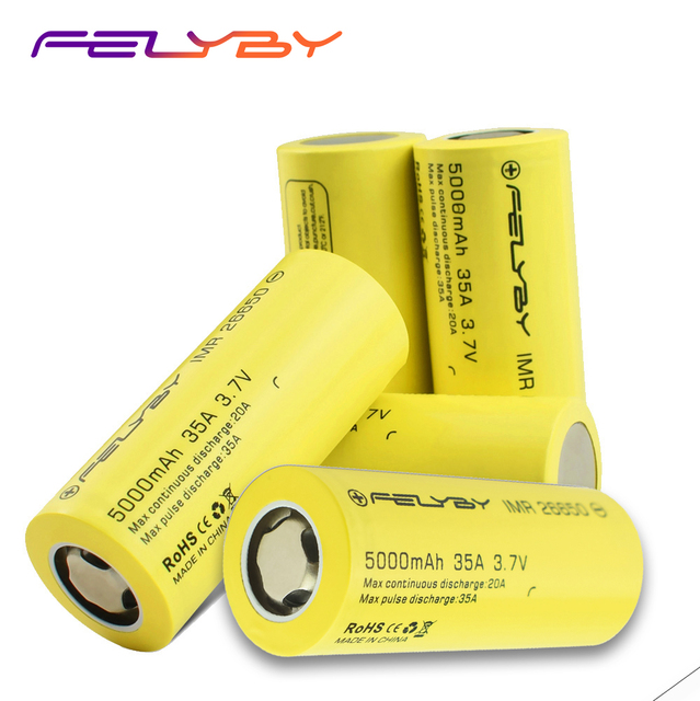 FELYBY 1 5pcs High Capacity 5000mAh 3.7V Rechargeable 26650 Lithium Battery for Flashlights/Solar/UPS/Electronic Tools