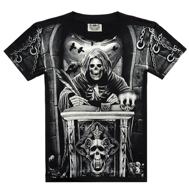 8baed67e76a Zombie Skull Hell Devil iron maiden Metallica Beatles Printed T shirt Men s  Short Sleeve