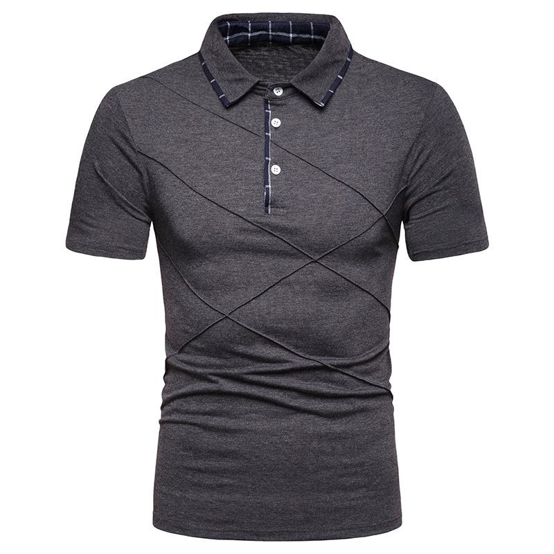 Solid Color   Polos   Shirts Men Smart Casual Short Sleeve Shirts Polyester Spring   Polos   Shirts for Men Breathable Fold Tops HD054