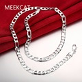 """6mm 20"""" 50CM Men's Necklace Colar de Prata Top quality 925 stamped silver plated 6mm figaro chain for male free shipping MEEKCAT"""