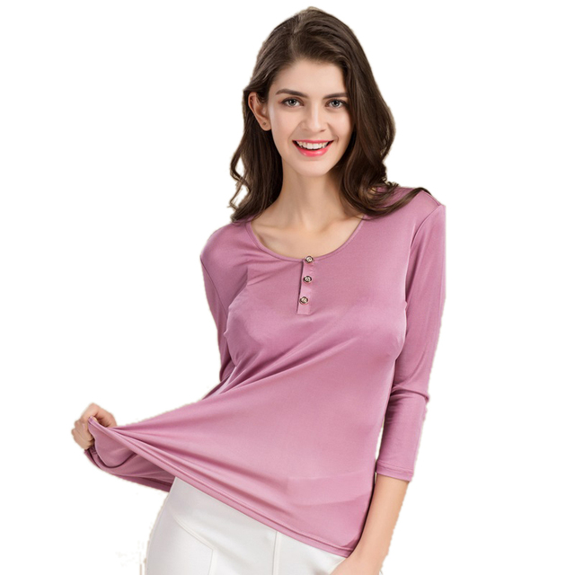 100% Pure Silk Women's T-shirts Femme 3/4 Sleeve Loose Casual Tees Shirt Women Tops Ladies Candy Color Shirts Female T-shirt