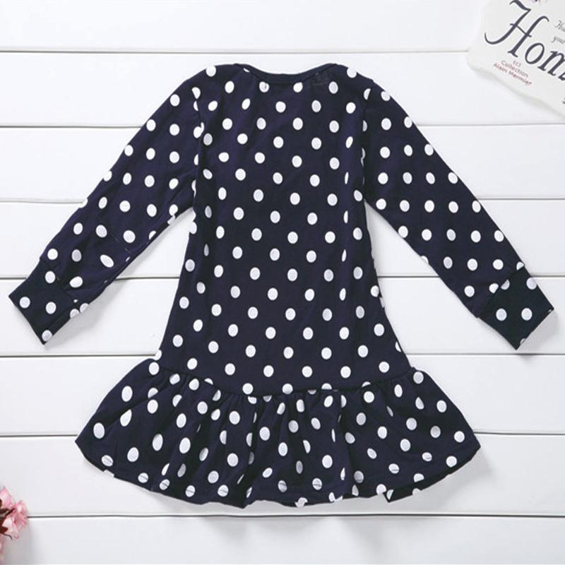 New Year Dresses for Girls Cartoon Deer Children Winter Dress Long Sleeve Tunic Dot Print Children Tops Clothes 4
