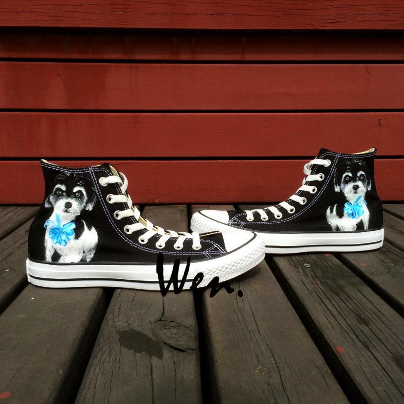 Wen Original Design Custom Hand Painted Shoes Pet Dog Black High Top Canvas Sneakers Christmas Birhtday Gifts wen hand painted unisex shoes custom design anime black butler men women s high top canvas shoes christmas birthday gifts