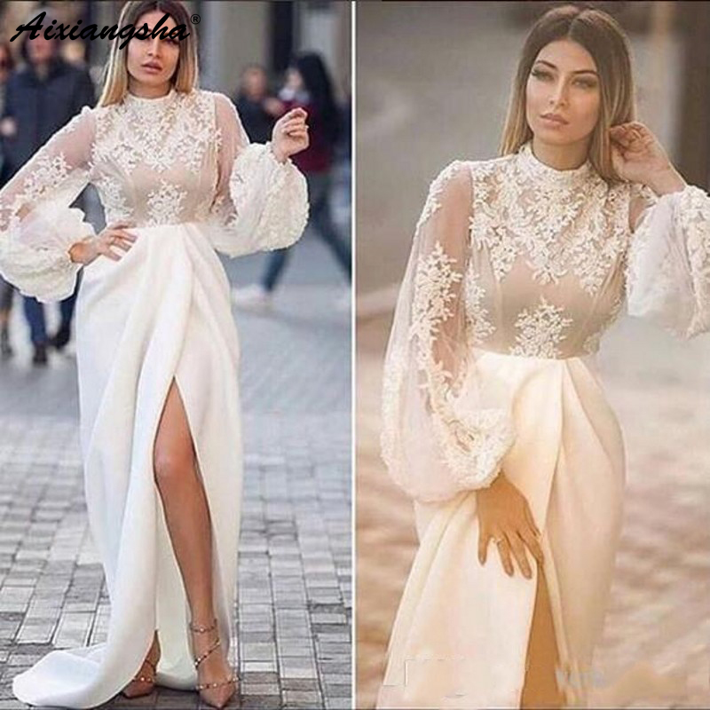 High Collar White 2019   Evening     Dresses   Mermaid Lace Applique Illusion Long Sleeves Formal Party Gowns Side Split Sexy Prom   Dress
