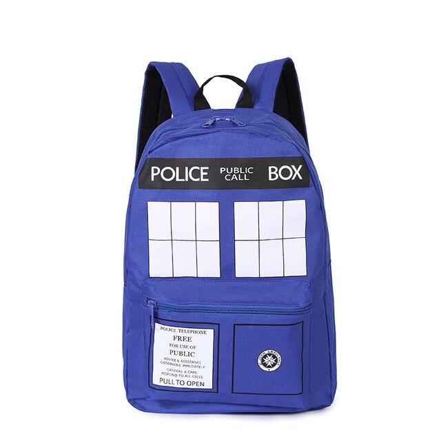32ef223b66c45 Heißer Verkauf Mode Doctor Who Tardis Cartoon Schüler Schultasche Arbeit  Taschen Männer Police Box Rucksäcke Schule Rucksack