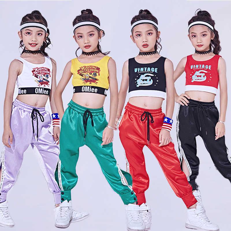 b9e595a7b 2018 Hip Hop Dance Costume Kids Jazz Vest Pants Girls Street Dance Clothing  Children Stage Costumes
