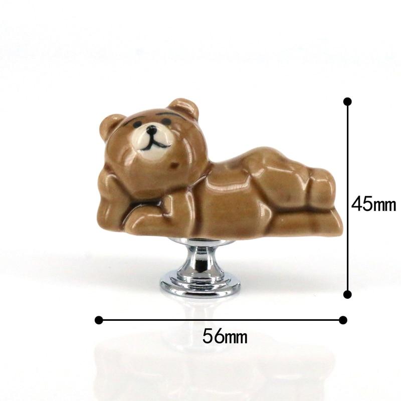 Купить с кэшбэком 1x Cute Bear Ceramic Knobs Drawer Handles Pulls for Wardrobe Cupboard Kids' Dresser Cabinet Closet Kitchen Furniture with Screws