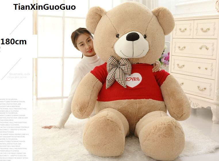 stuffed plush toy huge 180cm light brown teddy bear dressed red sweater loves bear soft doll hugging pillow birthday gift h1307