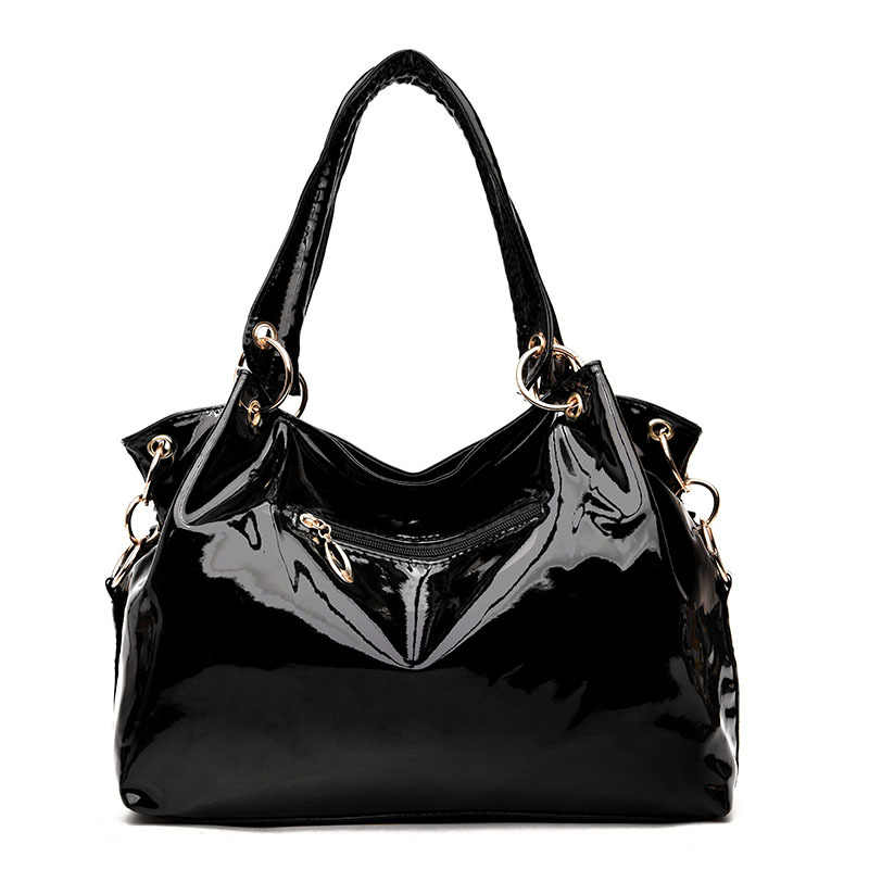 b9a5a25aa ... Black Patent Leather Bag Women 2018 New Bright Sequin Large Capacity  Handbag Lady Casual Hobo Crossbody ...