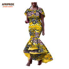2017 Fall african women dress AFRIPRIDE private custom off-shoulder ankle-length trumpet dress formal style pure cotton A722546