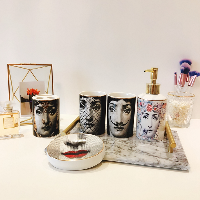 5pcs Set Milan Style Fornasetti Toothbrush Tumblers Soap Dish Bath Bottle Shampoo Bottle Noble Bathroom Supplies