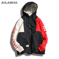 Aolamegs New Original Patchwork Plus Size Hoodies Men Fashion High Street Summer Hip Hop Full Sleeve
