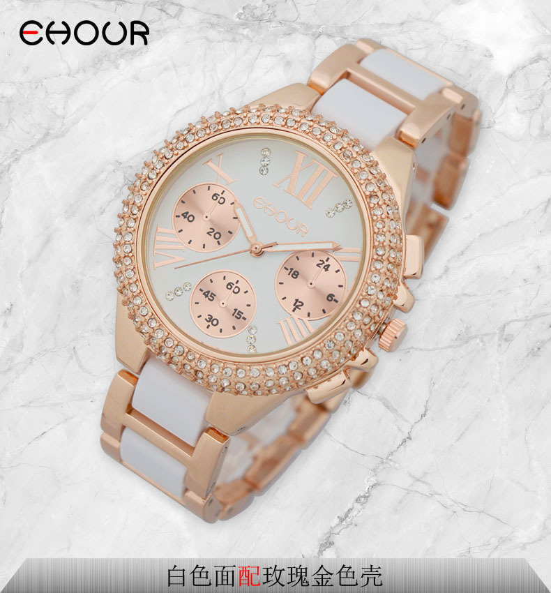 Fashion Crystal 2015 GENEVA Watch Women Silicon To-tone akryl - Dameure - Foto 3