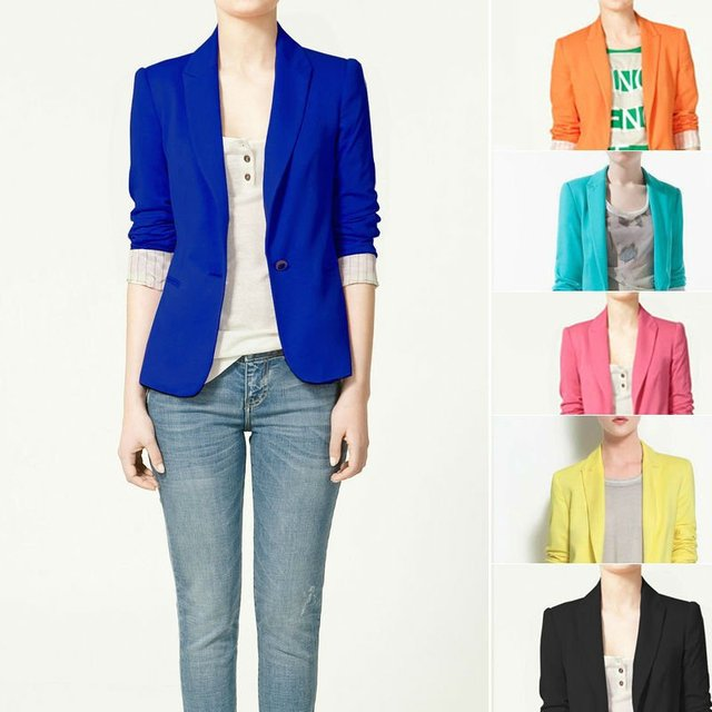 Spring 2015 New Clothing Womens Cotton Blend Blazers Long Sleeve Candy Color Coats And Jackets Wholesale