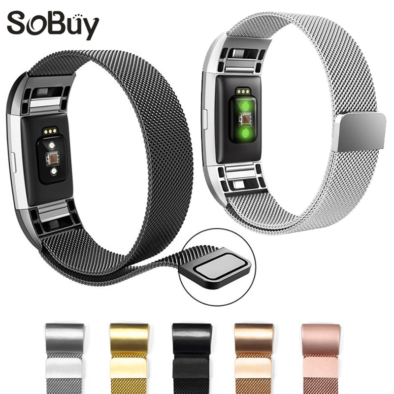 So buy for Fitbit Charge 2 Magnetic Milanese Loop strap metal belt Charge2 Stainless Steel watch Band Adjustable large Small