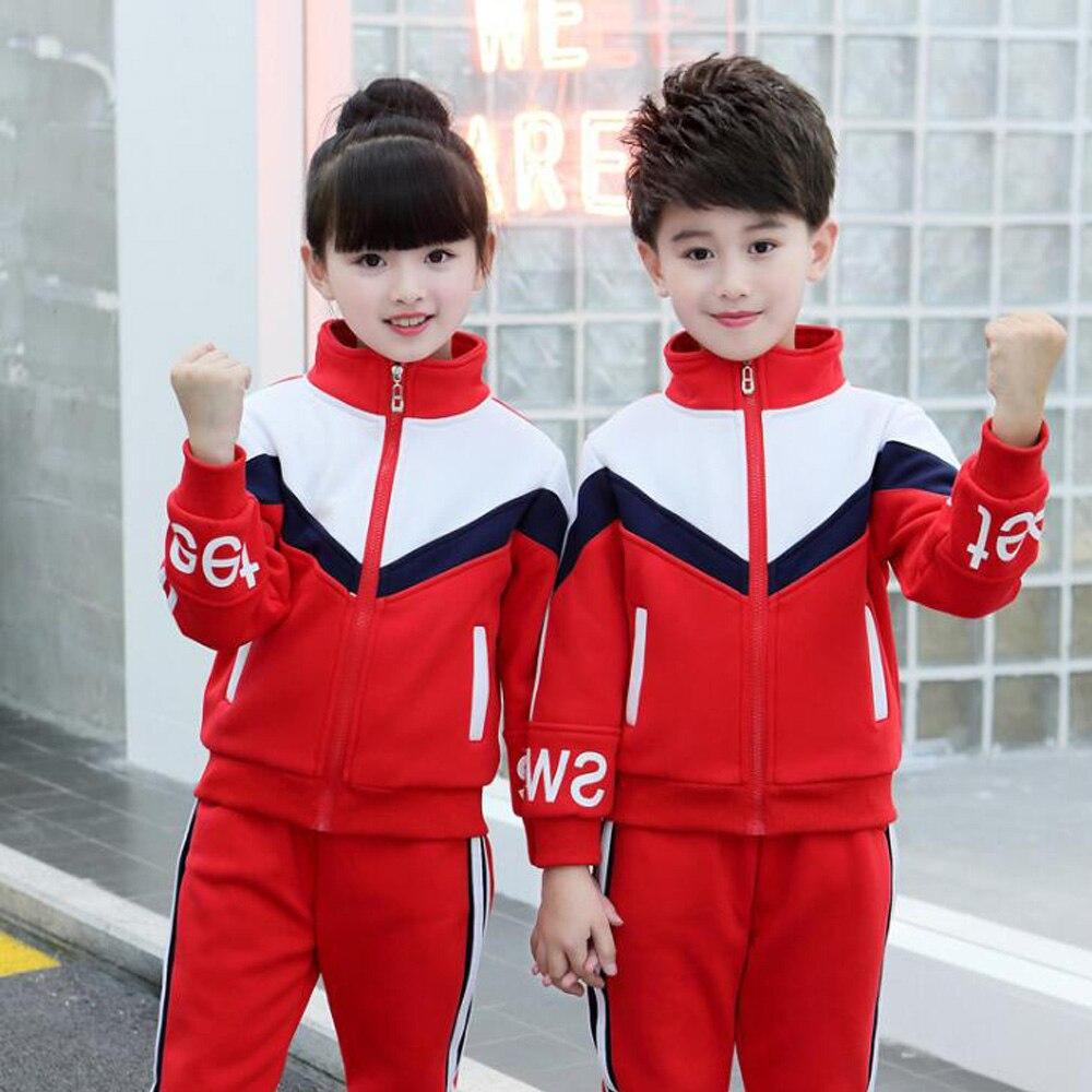 Enfants adultes vêtements de plein air primaires étudiants adolescents Sport Costumes filles garçons automne uniformes scolaires Costumes survêtement tenues