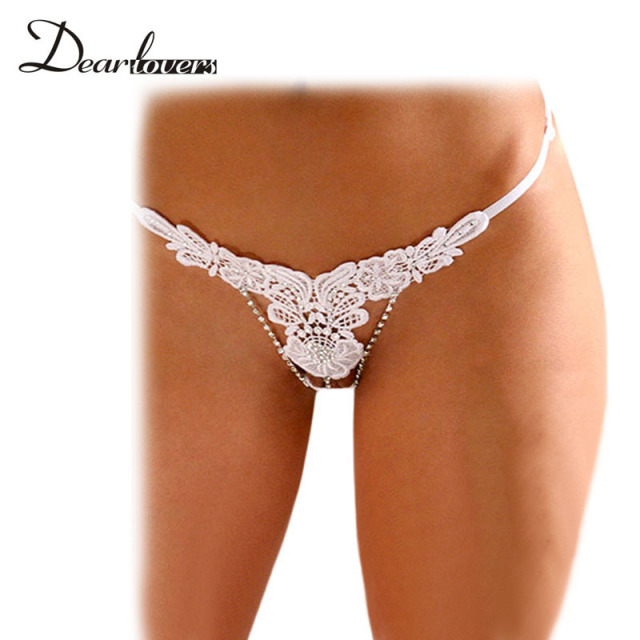 468e59d1e86 Dear lover Sexy Panties G String With Beading Embroidery Thong Women  Underwear White Black Sexy Lingerie Hot Open Crotch LC7561