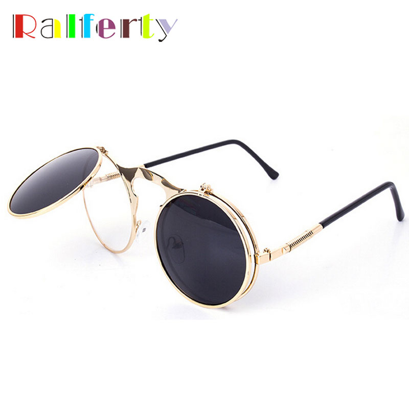Ralferty Retro Steampunk Googles Vintage Round Flip Up font b Sunglass b font Women Mens Clip