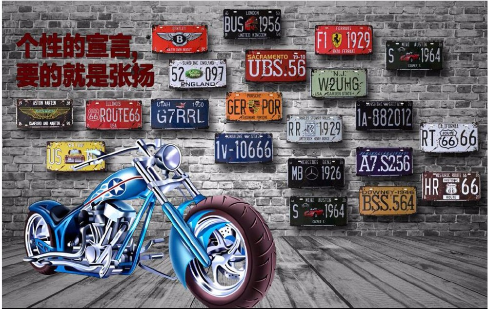 Custom photo mural 3d wallpaper Retro nostalgia for motorcycle