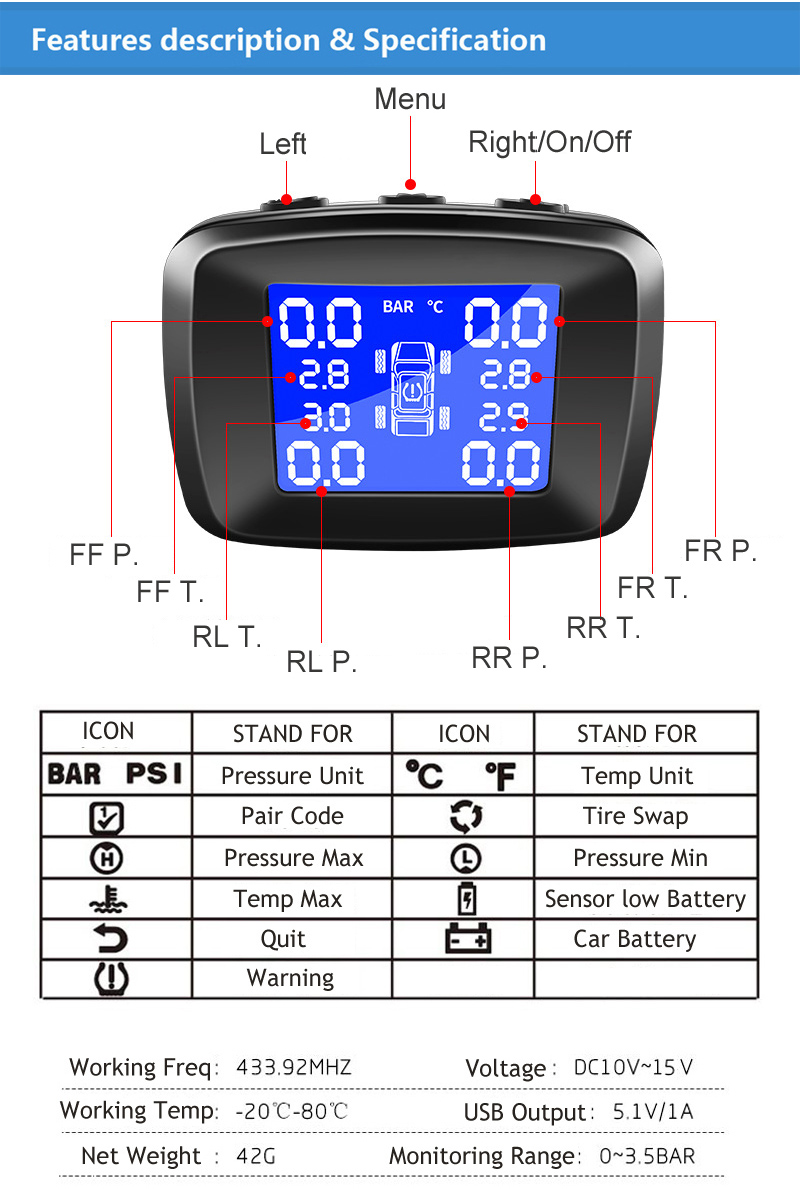 Cigarette lighter DC12V Tire sensor monitoring tire pressuare alarm TPMS (6)