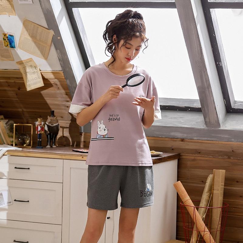 Image 2 - BZEL Top& Shorts Pajama Sets Women Short Sleeve Nightwear Cotton Homewear Round Neck Pijama Mujer Casual Sleepwear Lingerie 2pcsPajama Sets   -