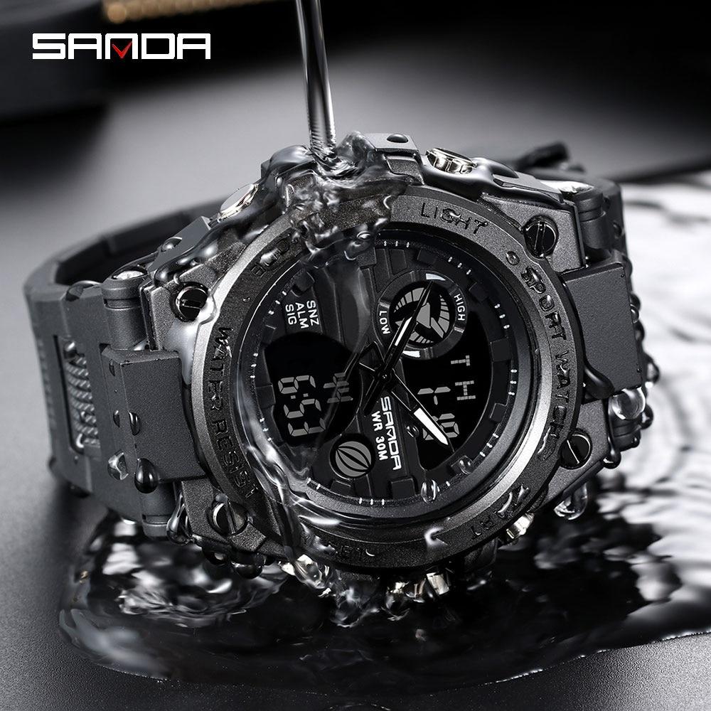 SANDA-montre-bracelet électronique pour hommes, de marque G, numérique, choc, de sport, mode, étanche, 2020 2