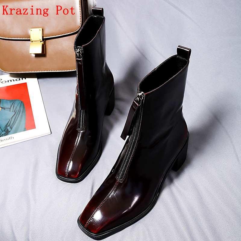 Krazing ポットおすすめフルグレイン革スクエアトゥストリート正方形ハイヒールジッパーファスナー暖かいチェルシーアンクルブーツ L02  グループ上の 靴 からの アンクルブーツ の中 1