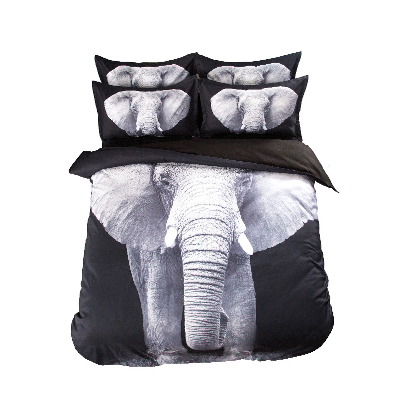 3D Elephant Printed Bedding Set Polyester&Cotton Bed Sheets Black and Gray Pillowcases Duvet Cover Set Twin Full Queen Size3D Elephant Printed Bedding Set Polyester&Cotton Bed Sheets Black and Gray Pillowcases Duvet Cover Set Twin Full Queen Size