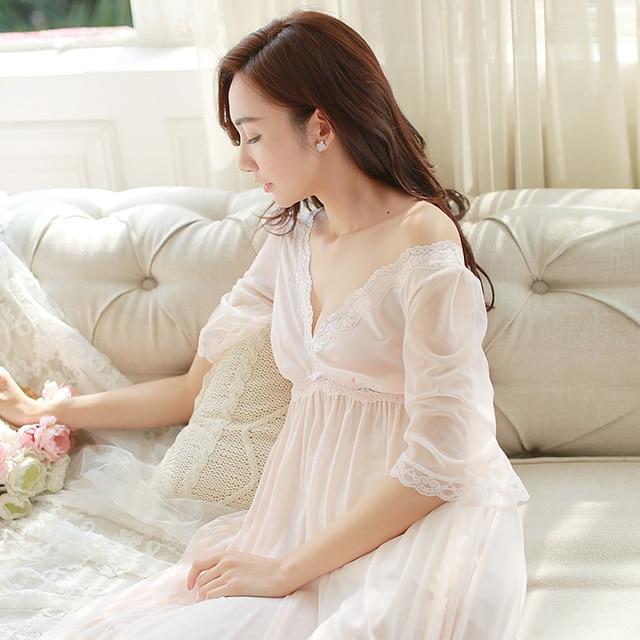 Summer Sleep Lounge Lady Sleepwear Deep V-neck Long Nightdress Women White  Pink Nightgown Modal Lace Night dress Plus Size 2327e3f0c