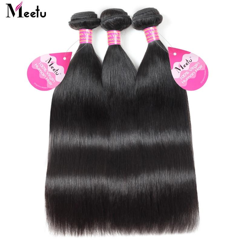 Meetu Malaysian Straight Hair Bundles med Lukke 3 Bundler Med Lukke - Skønhed forsyning - Foto 5