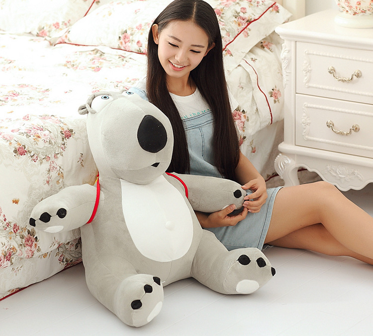 big lovely plush Unlucky bear toy new creative gray bear toy with a bag gift about 60cm 0035 new creative plush teddy bear doll lovely plaid suit ted bear toy gift about 60cm