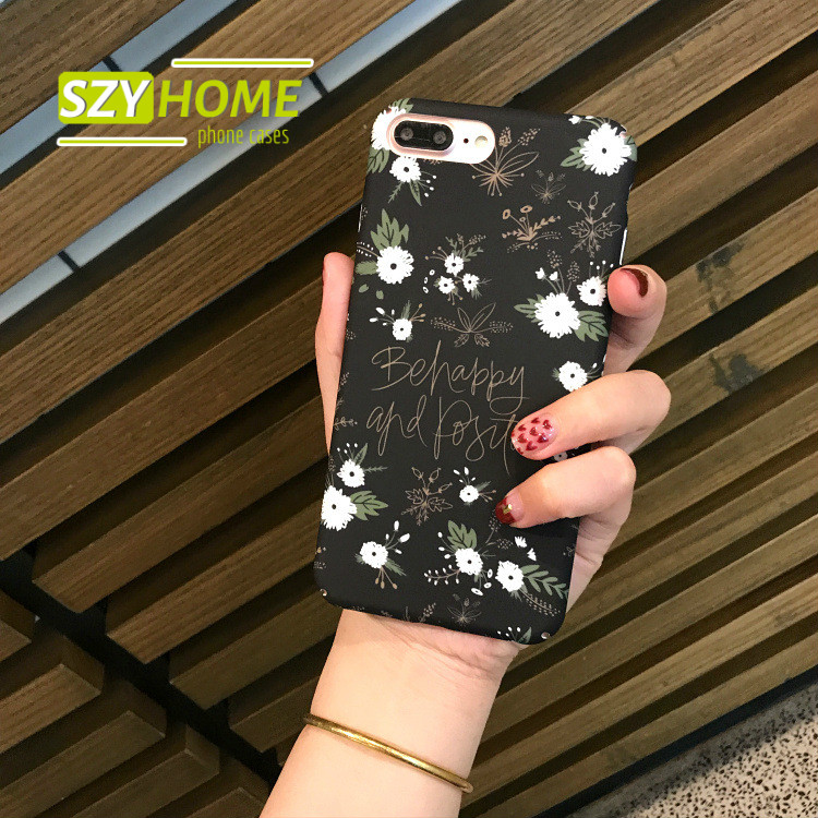 SZYHOME Phone Cases for IPhone 6 6s 7 Plus Case Korea Small White Flowers Art Plastic Frosted for IPhone 7 Cover Case Capa Coque