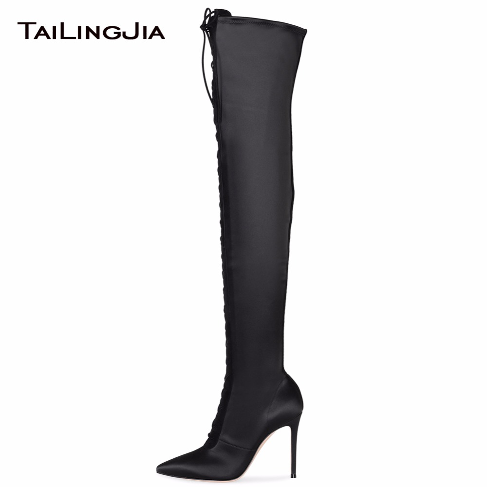 Women Black Satin Pointed Toe Lace Up Over The Knee Boots Stilettos High Heel Thigh High Boots Ladies Heeled Winter Keep Warm